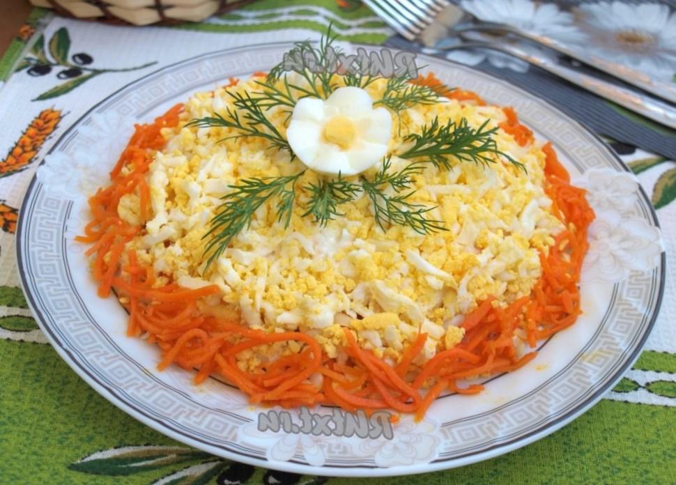 Грибы курица морковь по-корейски слоями