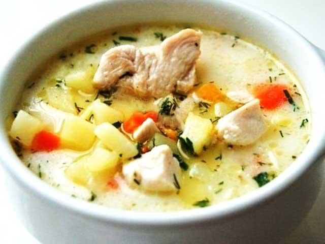 как приготовить сырный суп с курицей и шампиньонами