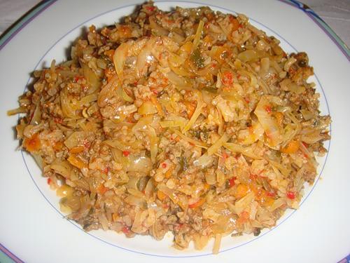 рецепты ленивых голубцов с фаршем и рисом в духовке с фото